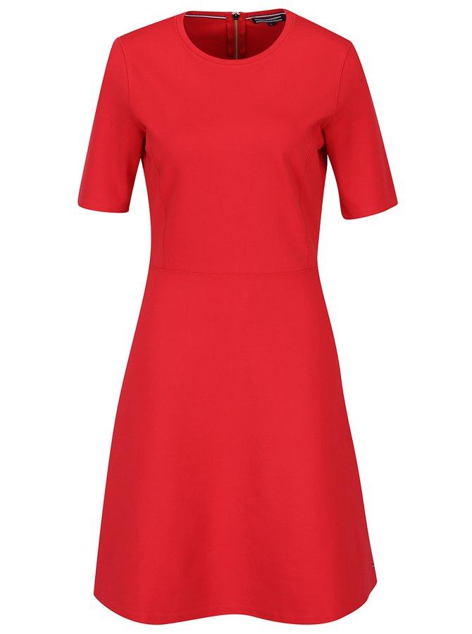 Červené šaty s 3/4 rukávem Tommy Hilfiger Raven