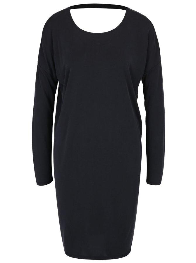 Tmavě šedé volné šaty s páskem na zádech ONLY Mary