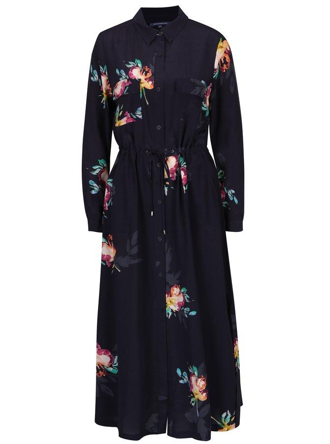 Rochie cămașă lungă mov cu print floral  French Connection Delphine