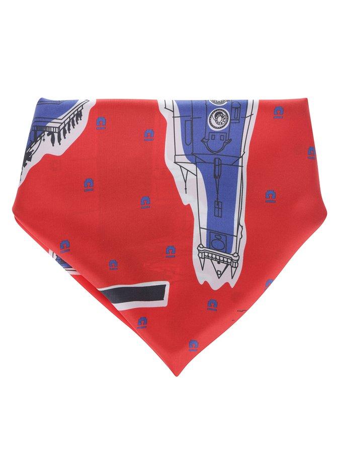 Červený hedvábný šátek s motivy pražských památek Prahy Emblemm