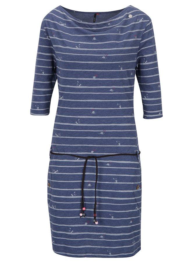 Modré pruhované šaty s páskem Ragwear Tanya Stripes