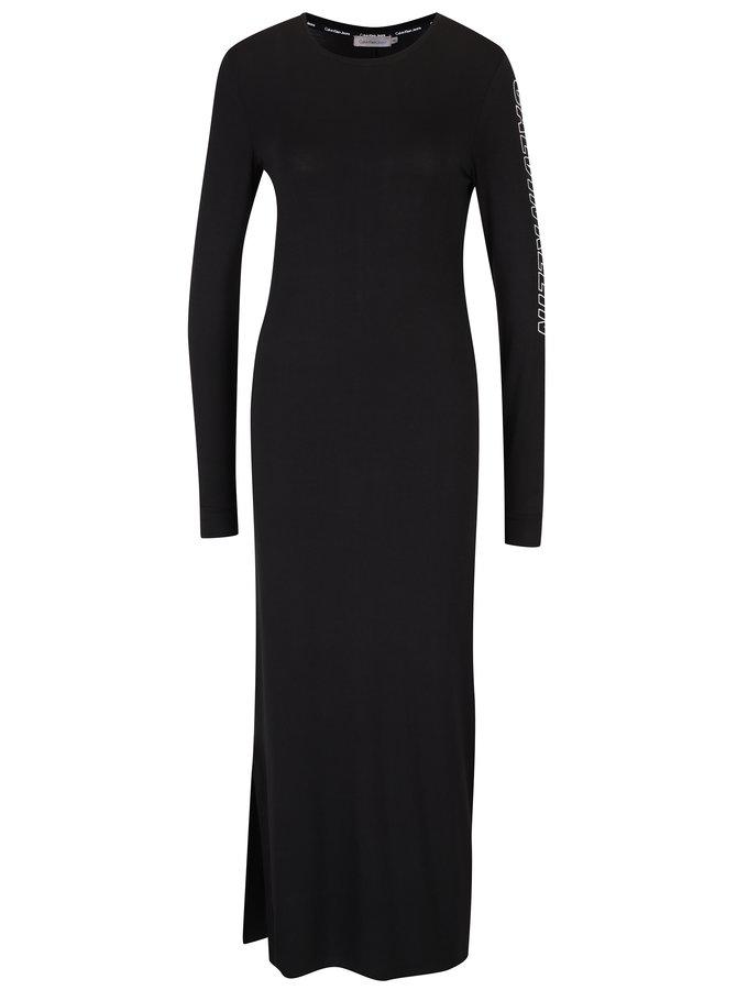 Černé maxišaty s dlouhým rukávem Calvin Klein Jeans Darna
