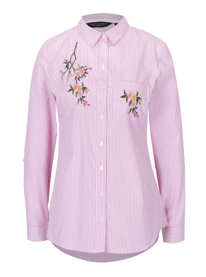 Cămașă cu dungi roz și albe și broderie florală Dorothy Perkins