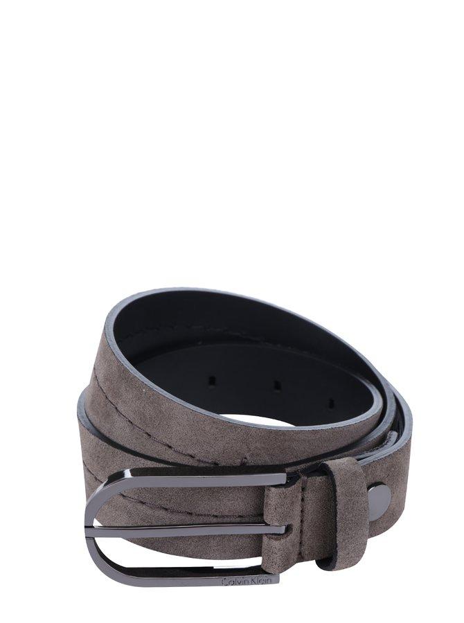 Tmavě šedý dámský semišový pásek Calvin Klein Suede