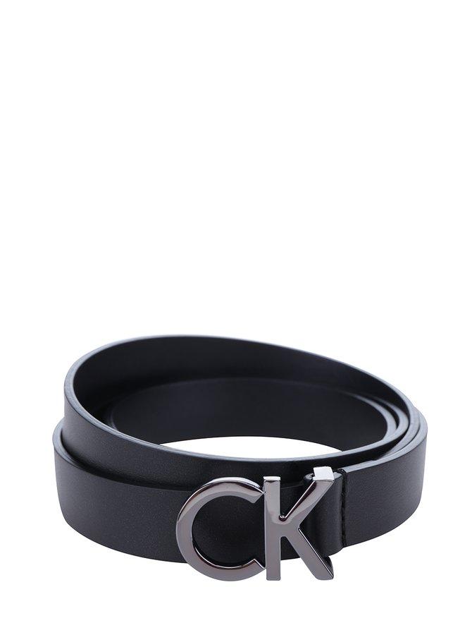 Černý dámský tenký kožený pásek Calvin Klein Skinny
