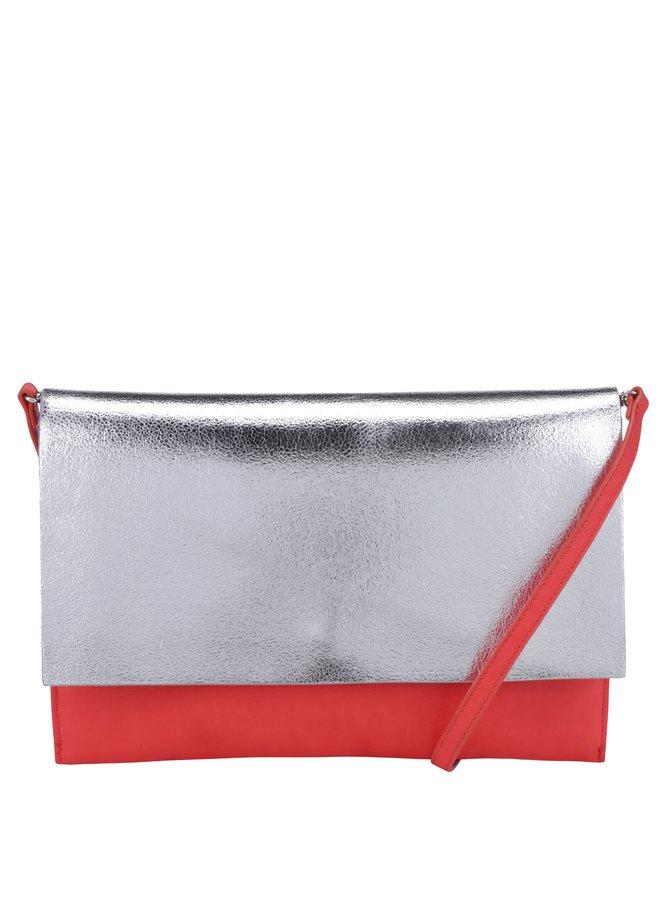 Červená crossbody kabelka/psaníčko s klopou ve stříbrné barvě Clarks Moroccan Jewel