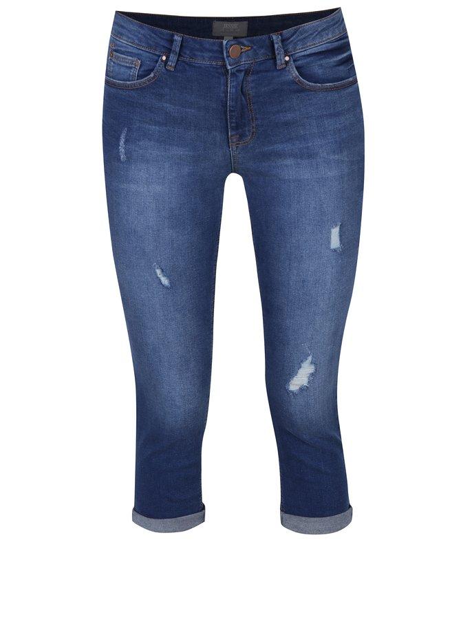 Modré 3/4 džíny s potrhaným efektem Dorothy Perkins