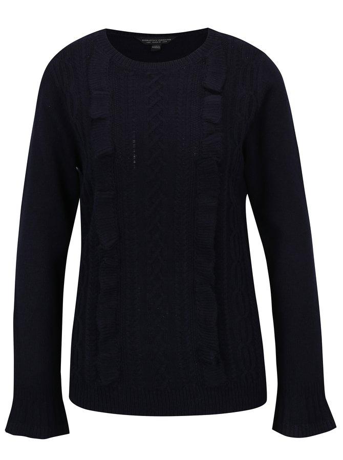 Tmavě modrý svetr s volány Dorothy Perkins