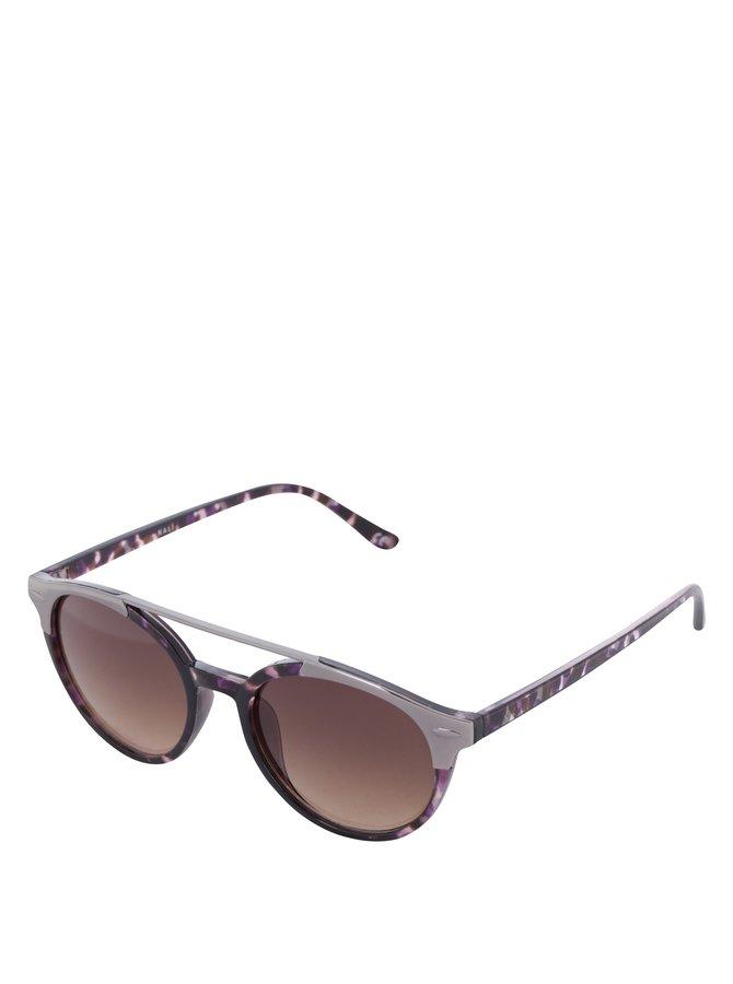 Fialovo-černé dámské vzorované sluneční brýle Nalí