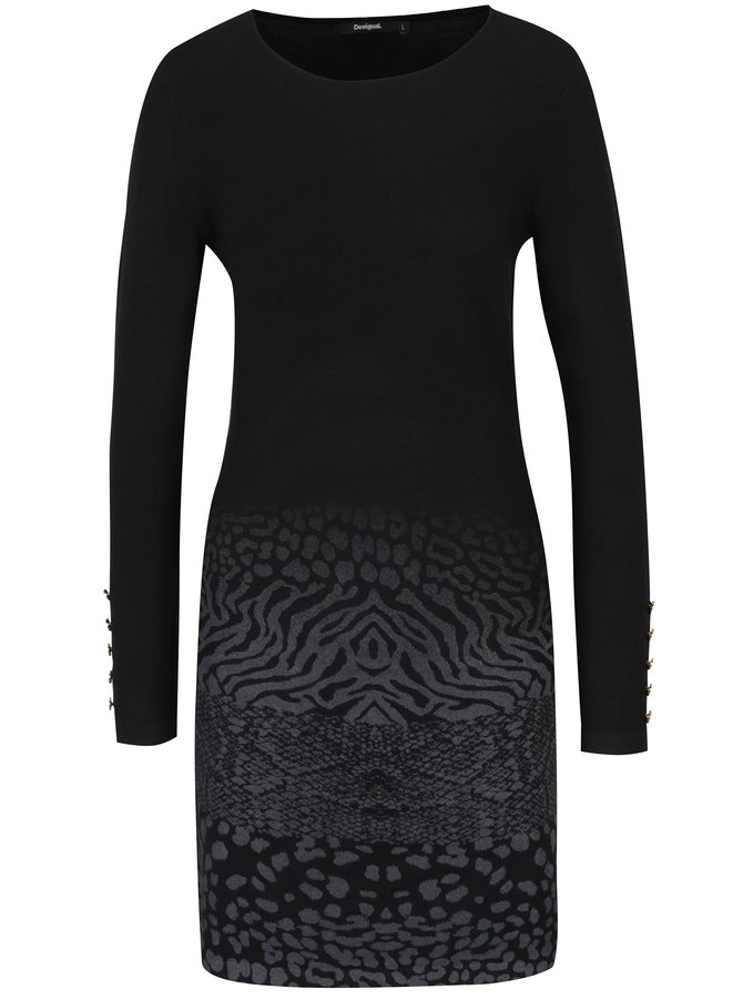 Rochie neagră mini cu animal print gri Desigual Granada