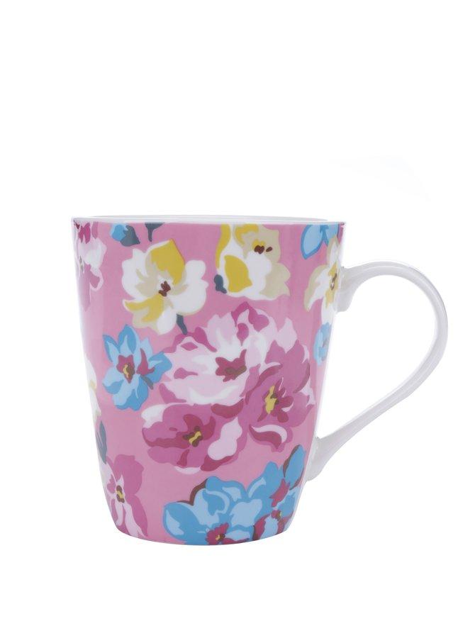 Růžový květovaný hrnek Cath Kidston