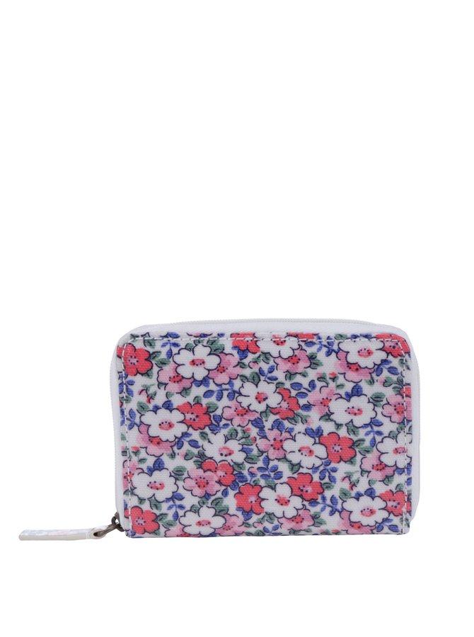 Krémovo-růžová dámská květovaná peněženka Cath Kidston