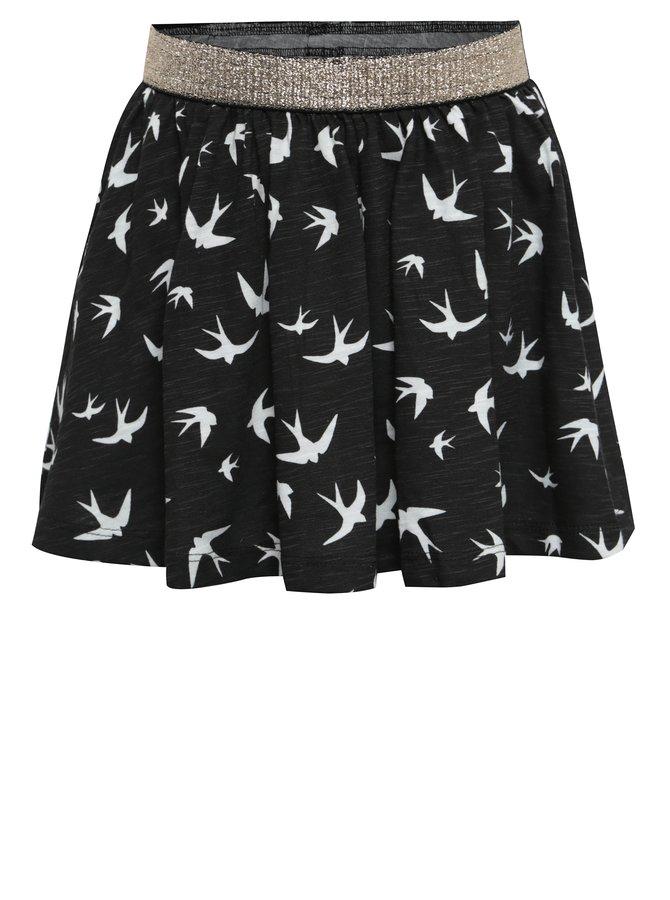 Černá holčičí sukně s motivem ptáčků a pružným pasem BÓBOLI