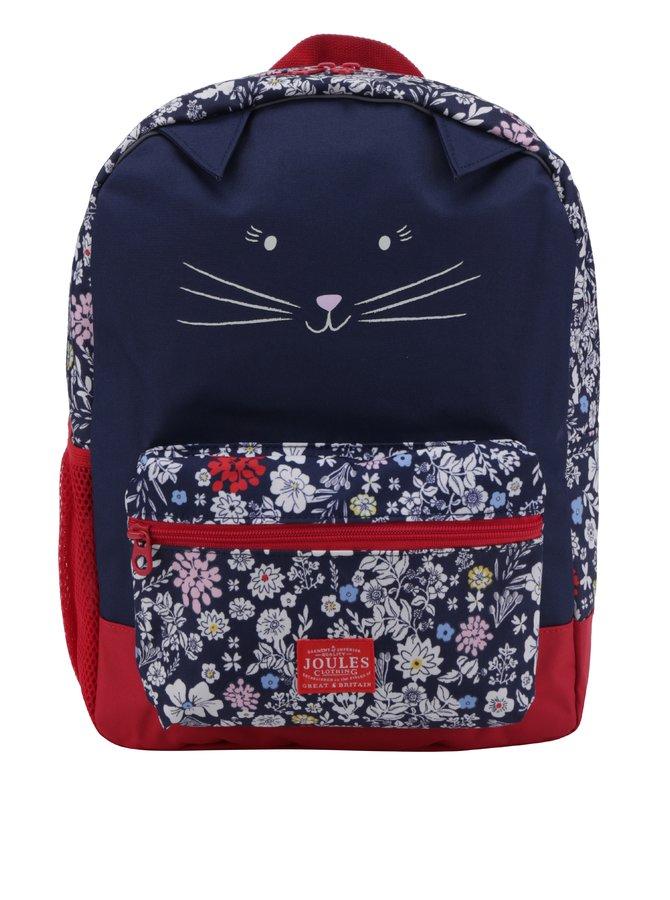 Tmavě modrý holčičí květovaný batoh ve tvaru kočky Tom Joule
