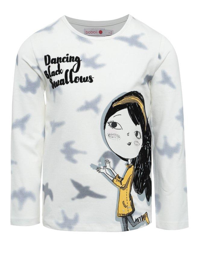 Krémové holčičí tričko s potiskem se sametovými detaily BÓBOLI