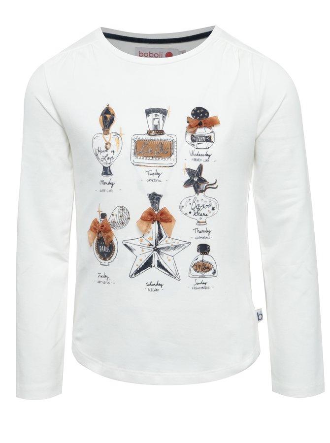 Krémové holčičí tričko s potiskem a kamínky BÓBOLI