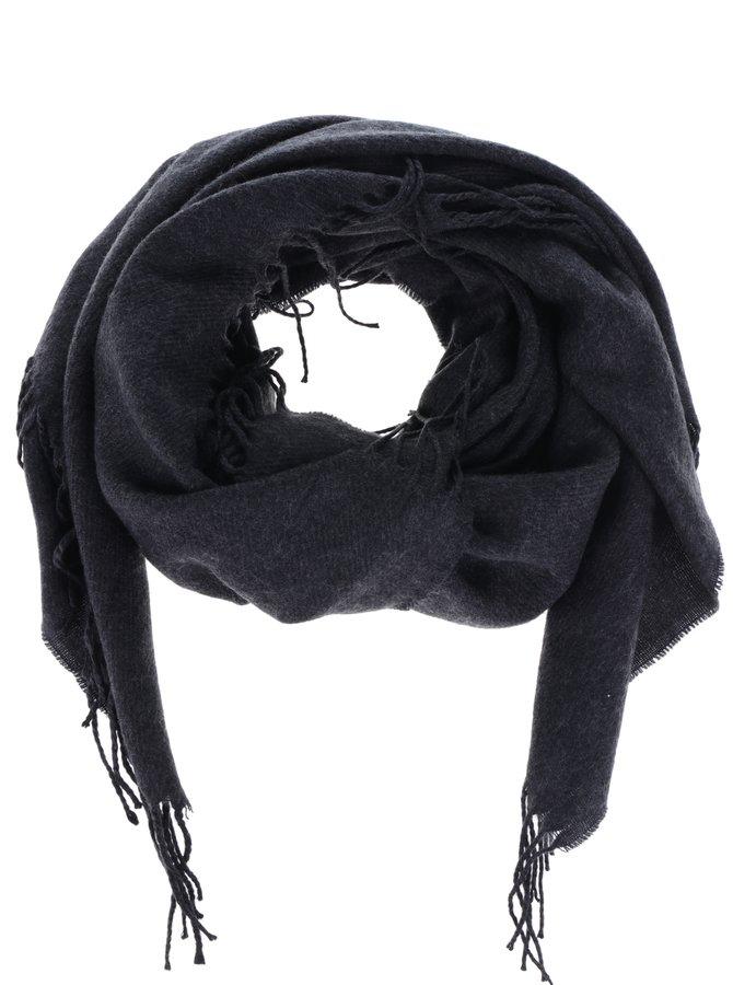 Eșarfă tricotată gri închis VERO MODA Solid