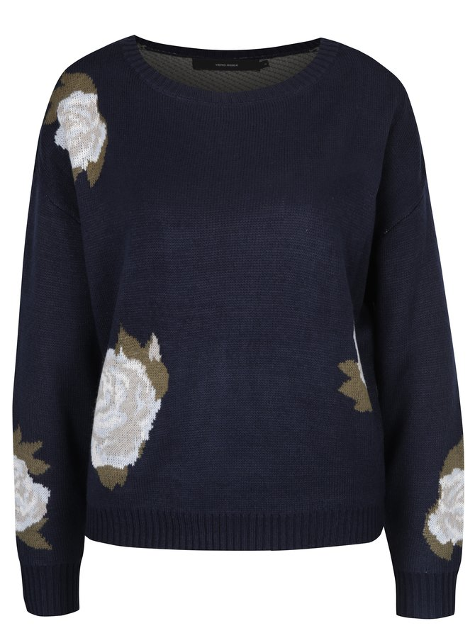 Pulover tricotat bleumarin cu flori - VERO MODA Belmont