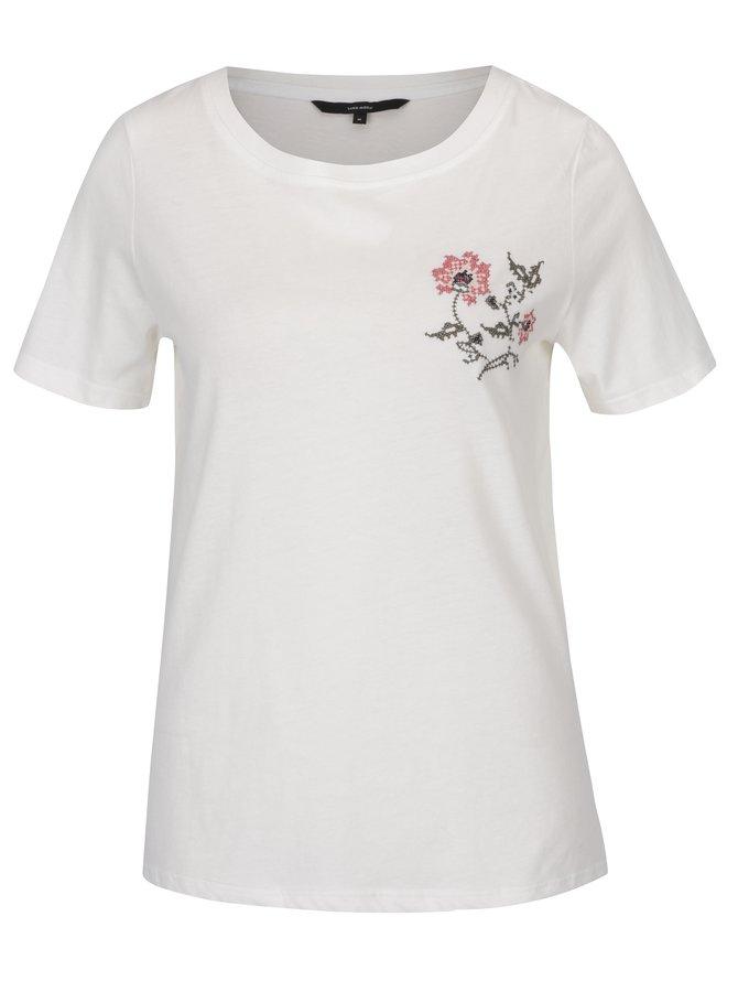 Krémové tričko s krátkým rukávem a výšivkou VERO MODA Emmy