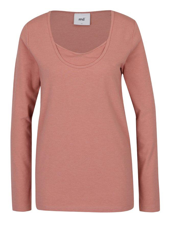 Bluză roz pudrat cu decolteu suprapus - Mama.licious Emmely