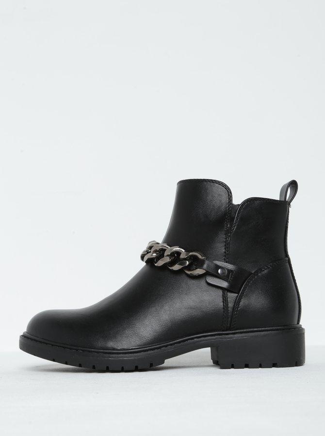 Černé kotníkové boty s řetězem ONLY Blix Chain