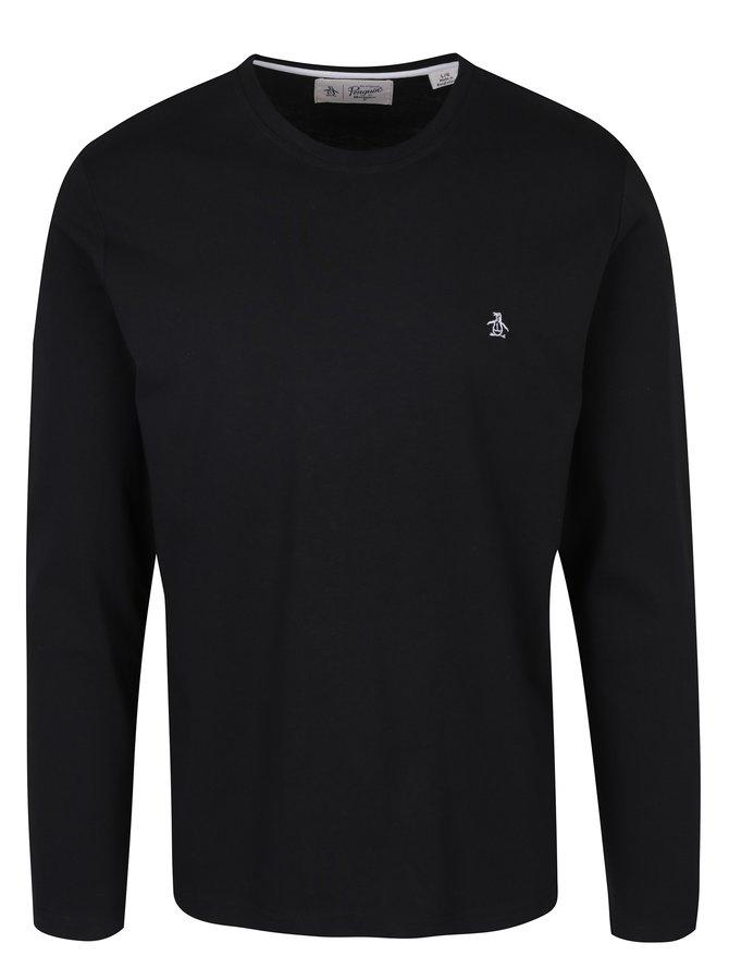 Černé tričko s dlouhým rukávem Original Penguin Pin Point