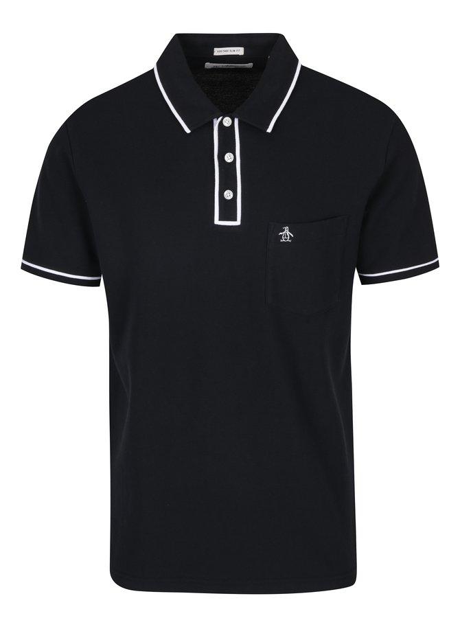 Černé slim fit polo tričko s náprsní kapsou Original Penguin The Earl