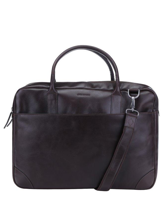 Tmavě hnědá velká pánská kožená taška na notebook Royal RepubliQ