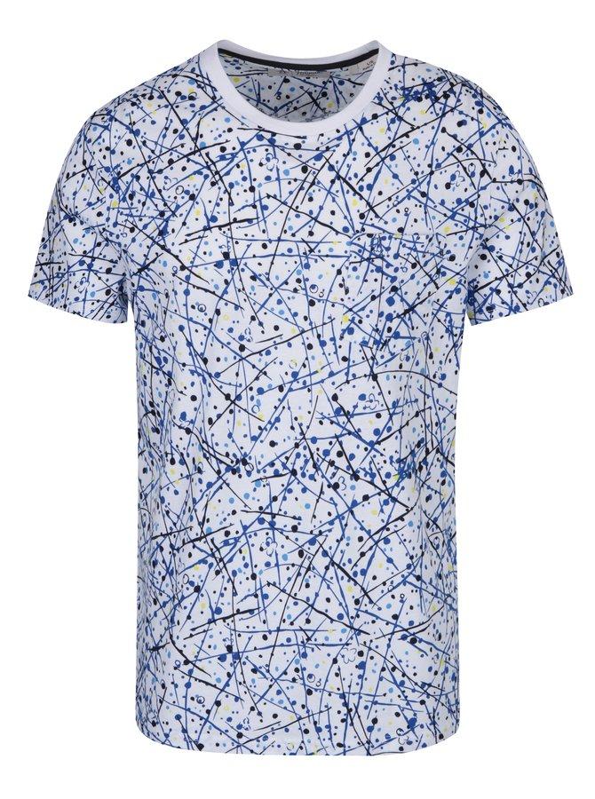 Modré-bílé vzorované tričko Original Penguin Allover Splatter