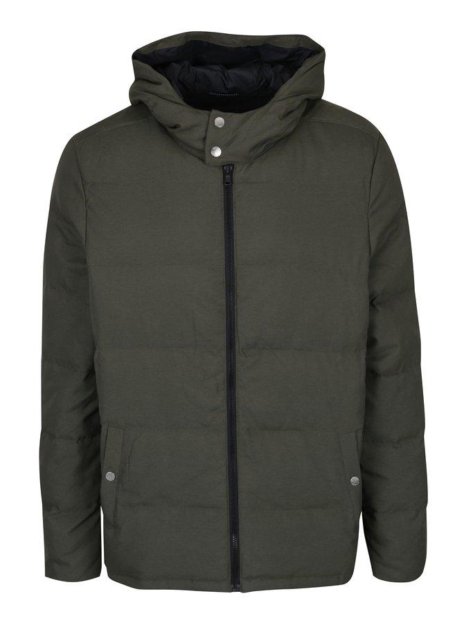 Khaki prošívaná bunda s kapucí Original Penguin Insulated