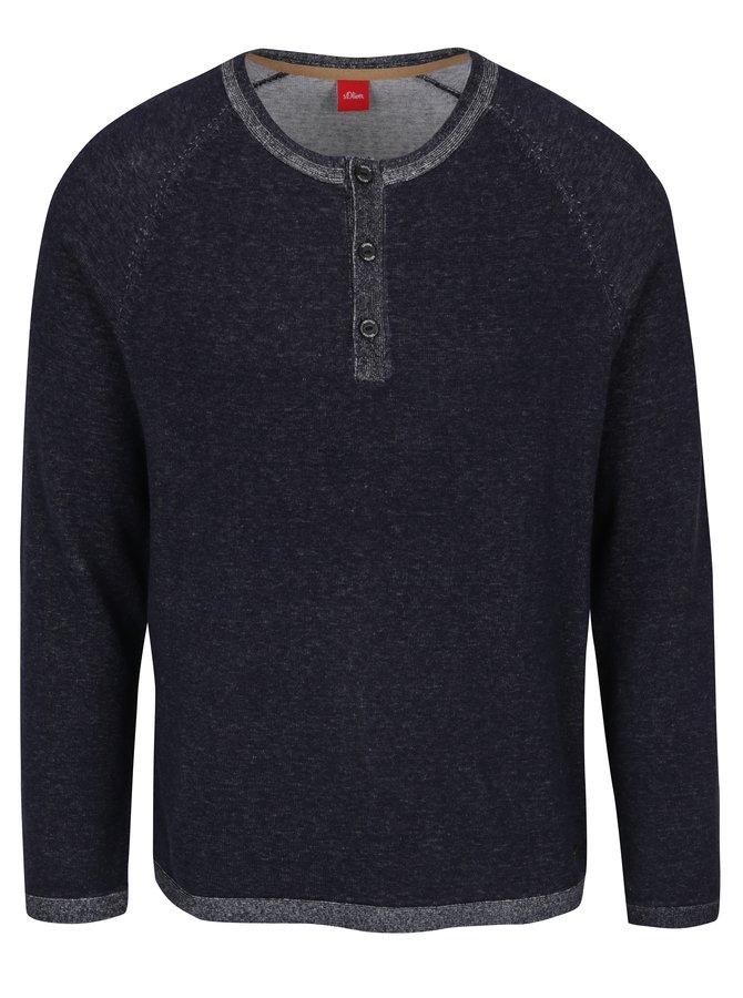 Tmavě modrý pánský žíhaný svetr s knoflíky s.Oliver