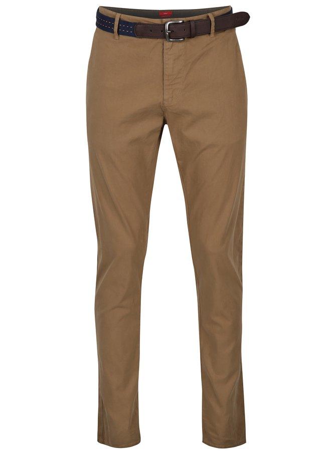 Hořčicové pánské slim fit kalhoty s páskem s.Oliver