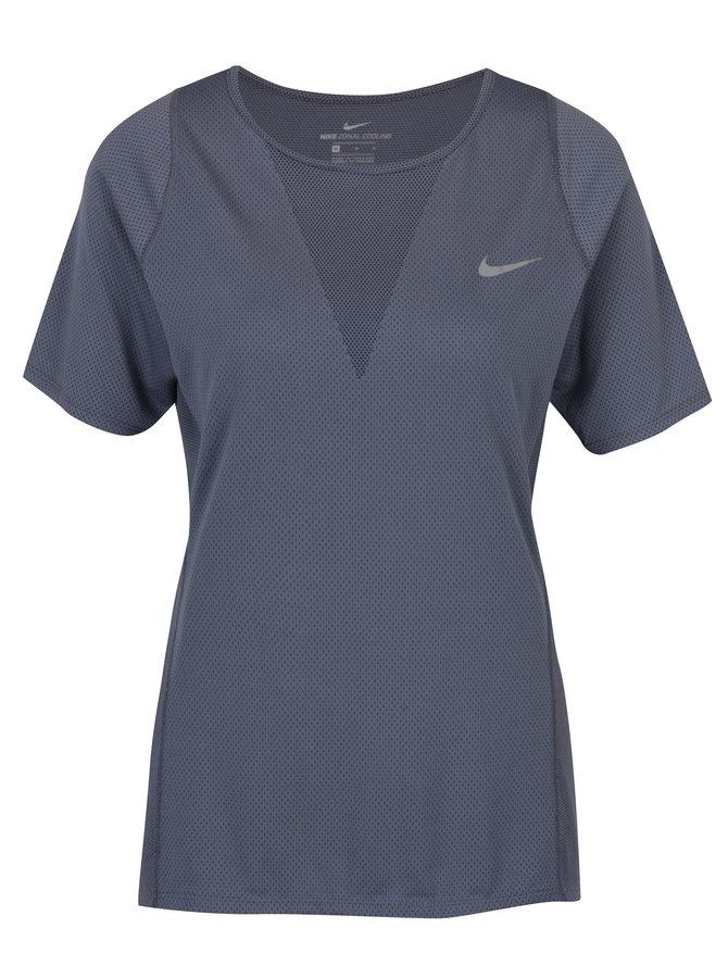 Šedomodré dámské funkční tričko Nike Zonal Cooling Relay