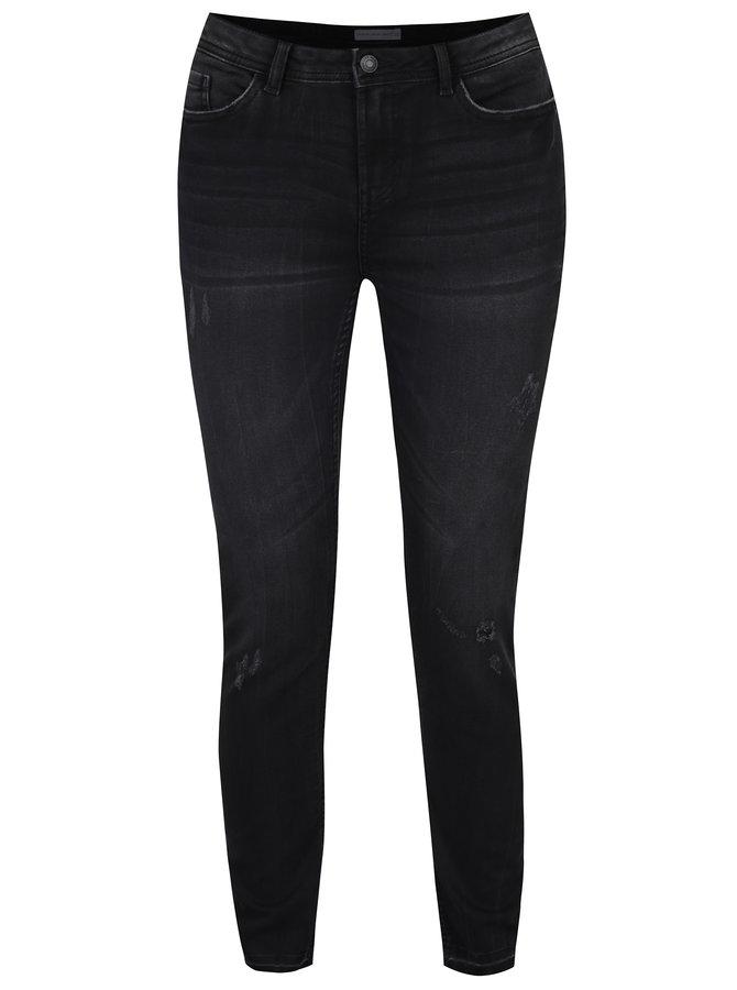 Tmavě šedé skinny džíny s potrhaným efektem Jacqueline de Yong Skinny