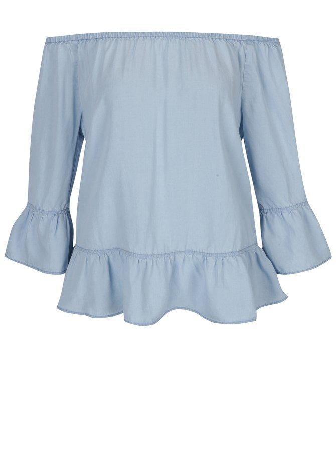 Světle modrá dámská halenka s odhalenými rameny s.Oliver