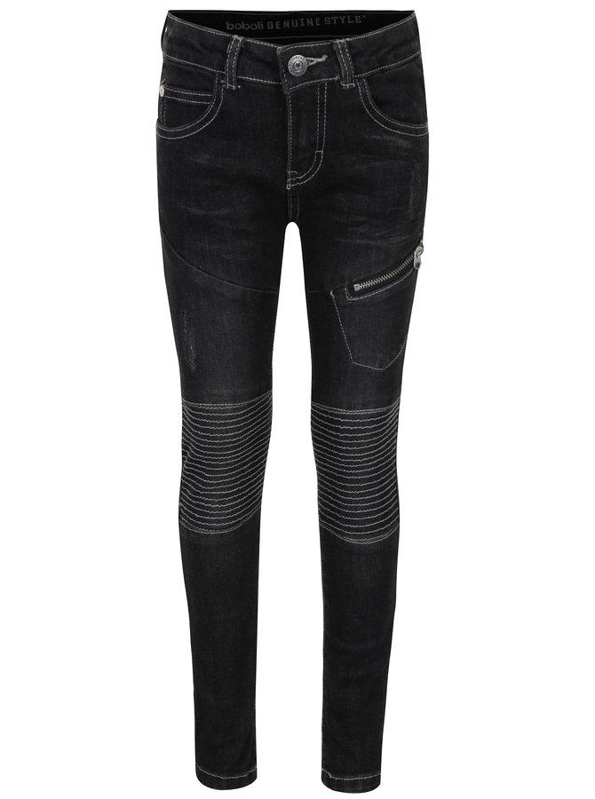 Černé klučičí džíny s prošíváním na kolenou Bóboli