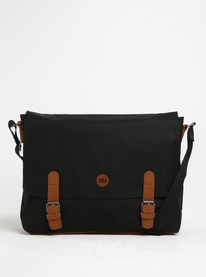 Čierna pánska taška s hnedými detailmi Mi-Pac Messenger Classic