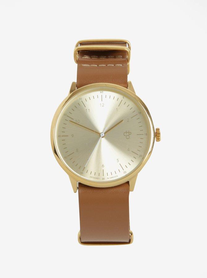 Unisex hodinky ve zlaté barvě s hnědým koženým páskem CHPO Harold
