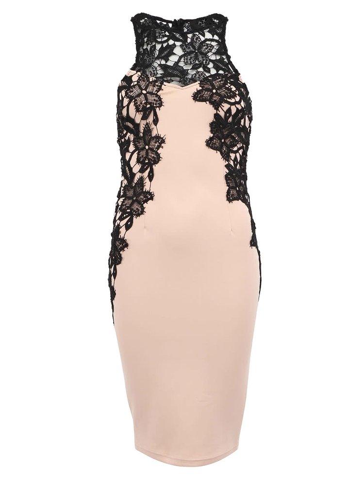 Béžové šaty s černou krajkou AX Paris