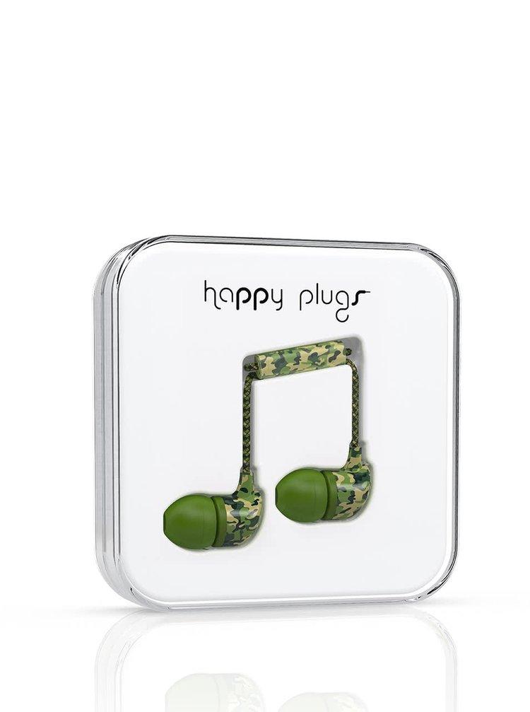 Casti In-Ear Happy Plugs verde camouflage