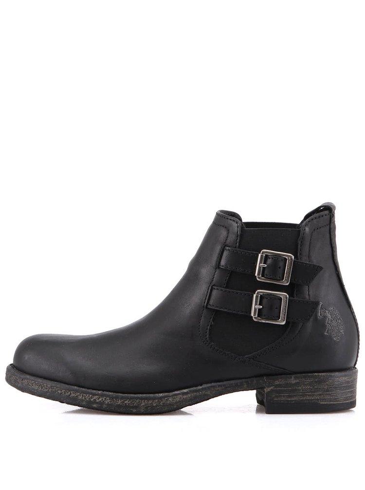 Čierne dámske kožené topánky U.S. Polo Assn. Kelly