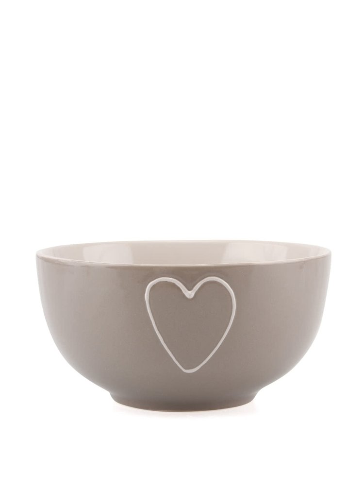 Bol ceramic Dakls Grey cu decorațiune inimă executată manual