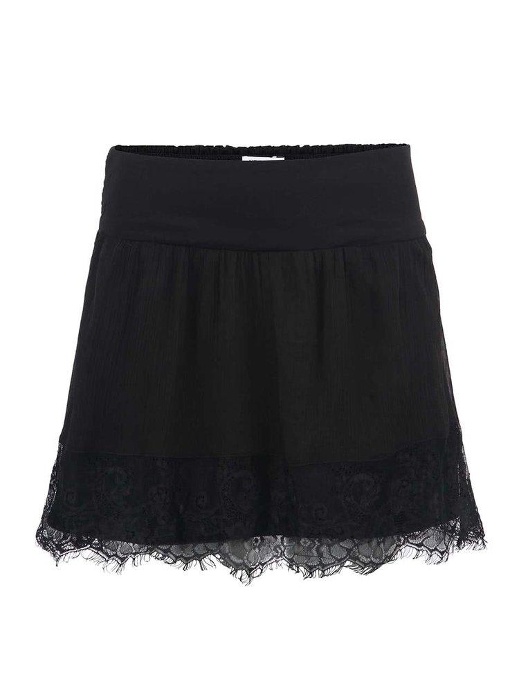 Čierna sukňa s čipkovým lemom VERO MODA Bondie