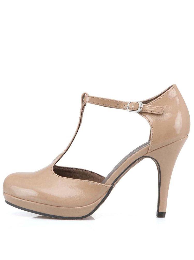 Pantofi bej cu toc Tamaris
