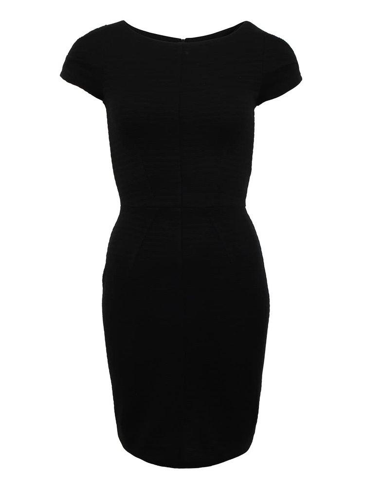 Čierne priliehavé šaty so zipsom na chrbte Closet