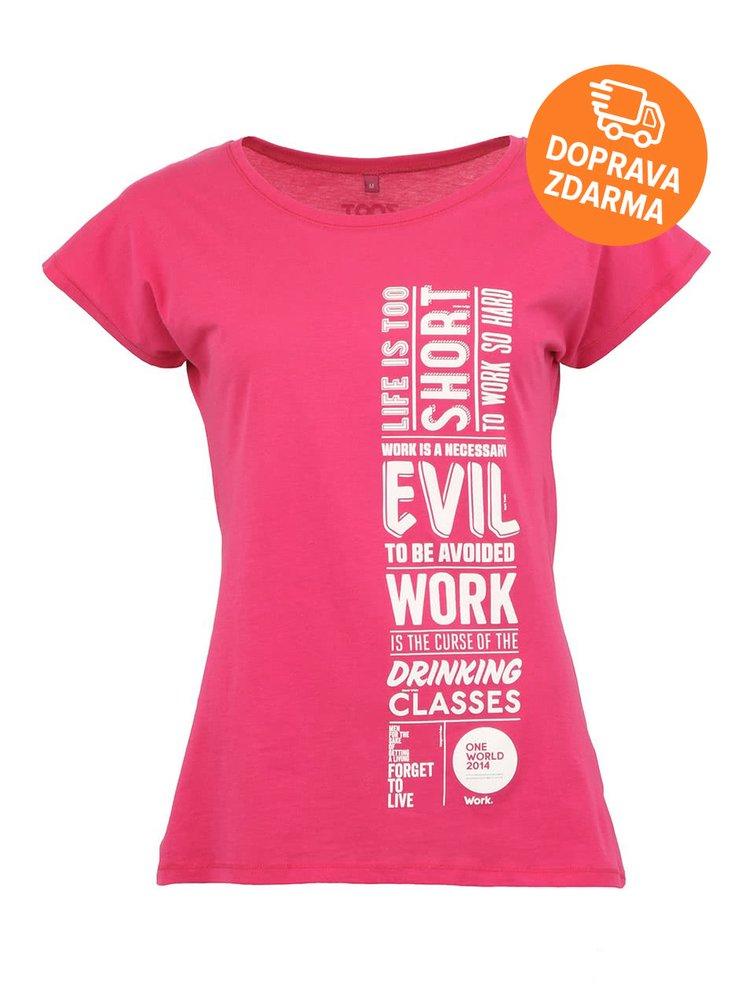"""Dámské růžové """"dobré"""" triko Jeden svět Negativní"""