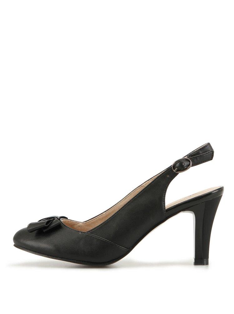 Černé sandálky na podpatku s mašlí Elisabeth
