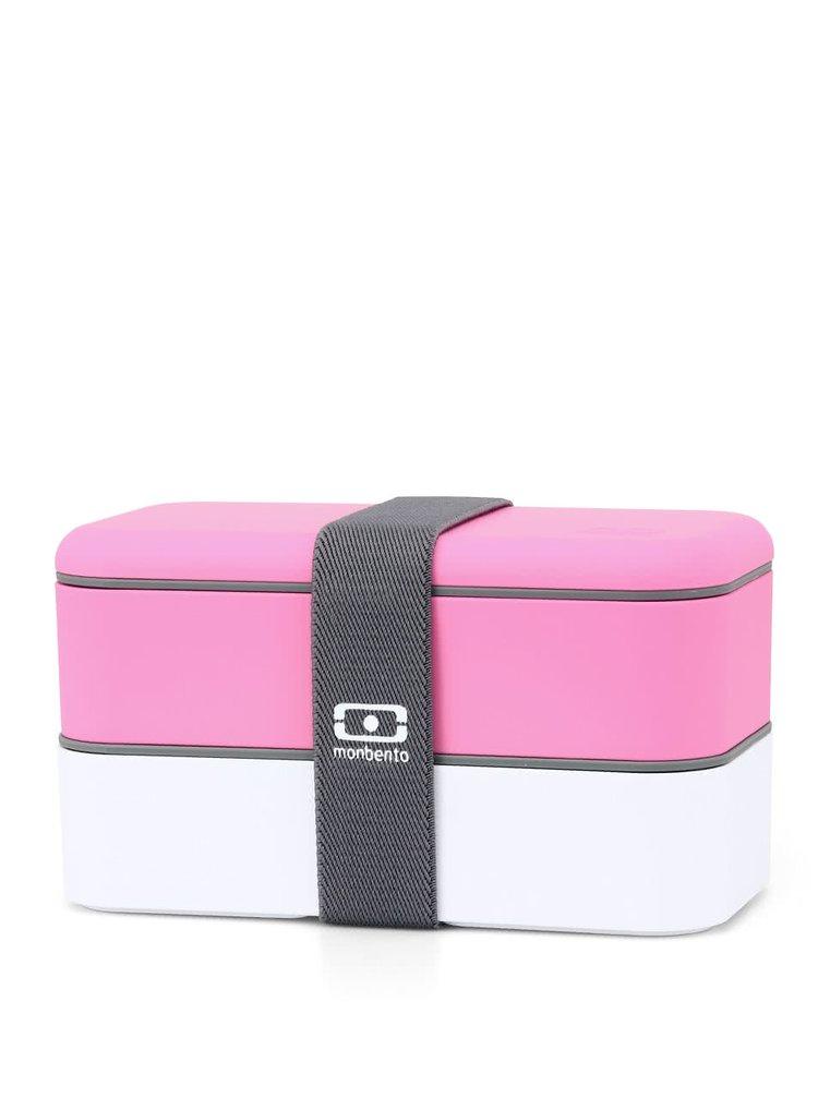 Růžovo-bílý designový box na jídlo s šedou páskou Monbento