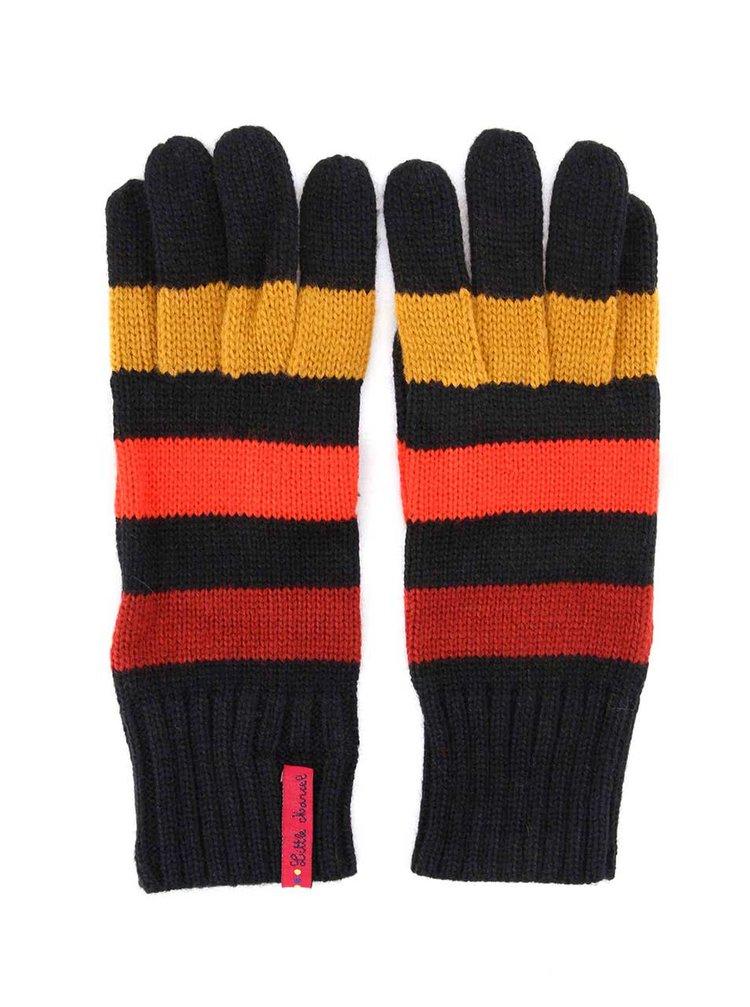 Čierne rukavice so žlto - červenými pruhmi Little Marcel Gabi