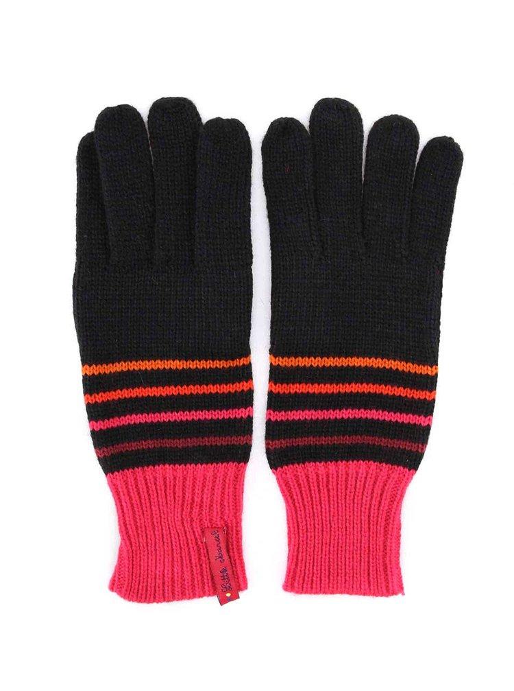Černé pruhované rukavice s růžovým lemem Little Marcel Galio